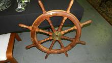 Nice teak wood and brass ship's wheel, cond VG large, special shipping required