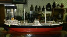 Wonderful handmade massive ship model, for Shell Oil with amazing fine detail,