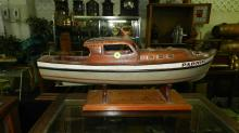 Wonderful vintage hand crafted and painted wooden boat model, named