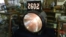 Amazing / original Pyle National Steam Locomotive Headlight train number #2606, with label-tag on side, glass lens VG, number glass sides VG, top front cracked, works, special shipping required