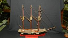 Wonderful antique / vintage hand crafted and painted wooden boat / ship model, nice fine detail, on stand, special shipping required *cannot ship in house*