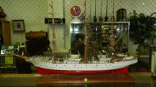 Large antique handmade and painted wooden sailing ship model, with intricate detail, ship name