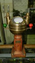 Unique Yacht's Binnacle Compass by Sestrel, Type A. Small wet compass in rounded brass case, manufactured by