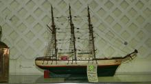 Antique handmade and painted wooden ship model, 1900's. Special shipping required
