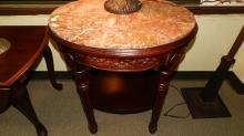 Oval marble top lamp table, carved base, special shipping required