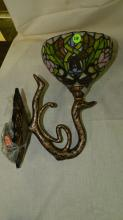 Nice Tiffany style Brier Rose stained glass wall sconce
