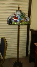 Lovely stained glass, Christmas Santa Claus design floor lamp. Special shipping required