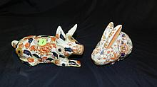 2 pc. Porcelain painted Asian rabbit and pig, makers mark stamped on base, COND VG, 4