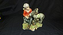 Nice Capidamonte bisque painted figurine boy with donkey, COND VG, 6 1/2