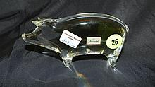 Crystal art glass Baccarat pig, Cond VG, 2 3/4 x 5