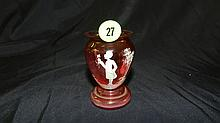 Lovely hand painted cranberry, Mary Gregory vase, gentleman holding flower scene, COND VG, 3 1/8