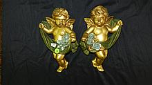2 pc. Chalk painted cupid wall plaques, COND VG, 10