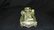 Victorian silver plated inkwell desk set, compliments of Kreielsheimer Bros. Seattle, WA, business from 1887-1914, COND VG, 4