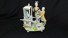 Stunning antique 1890's hand painted porcelain couple with phaeton / carriage seat, stamped on base by maker, COND VG, 8 x 6 1/2