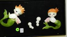 Vintage Set of 2 Ceramic Mermaid Wall Hanger  by Bradley, cond VG, No tray