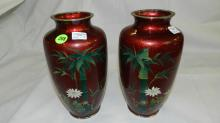 9) 2 piece matching Asian Cloisonne and painted vases with bamboo tree design, cond VG