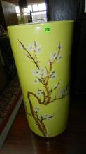 28) large porcelain Asian painted umbrella stand with tree design, marked on base, cond VG, special shipping required