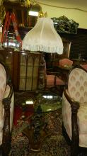 nice custom bronze cast floor model designer lamp with glass table, special shipping required