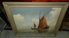 vintage framed oil painting on canvas, sailboat scene, signed Morang? cond VG