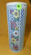 10) Vintage Weller floral cylinder vase, cond VG, crazing from age