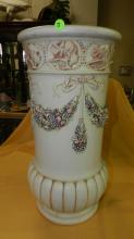 ) Vintage Weller floral umbrella stand, cond VG, crazing from age