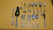 group of sterling silver flatware, Wallace Rose Point serving pieces no tray