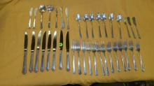 group of sterling silver flatware set,