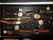 Tray of vintage wrist watches, various makers, styles, cond, No tray