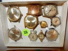 box of vintage men's & women's wrist watches (no bands) various makers, styles, cond