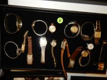 Tray of vintage wrist watches, men's and womens, various makers, cond, styles, No tray