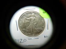 U.S. 1942-D Walking Liberty half dollar