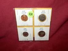 4 piece Nice U.S. 1964 Penny, Nickel, Dime & Quarter