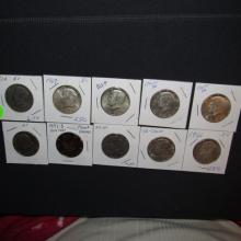 10 Piece U.S. Kennedy Half Dollars, various dates & mints