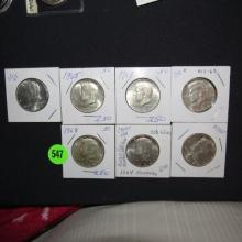 7 Piece U.S. Kennedy Half Dollars, various dates & mints