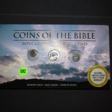 3 piece Coins Of The Bible (replica coins from biblical times in holder)
