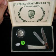 Nice U.S. Mint Kennedy half dollar 30th anniversary coin and pocket knife