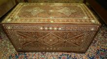 wonderful inlay blanket chest with mother of pearl shell inlay, nice design to inlay, cond G-VG minor split to corner, special shipping required