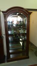 2) Lovely, modern, arched top, side loading, curio cabinet with beveled glass front, mirrored lighted back, by Hammary CO. COND VG. Special shipping required