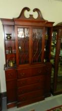 4) Mahogany secretary china hutch, COND G, has minor loss to patina. Special shipping required
