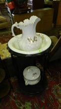 3 Piece pitcher and bowl with thuder mug and stand. Special shipping required