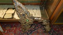 Unique Bali carved, mirrored and jeweled, fish tail (great for wall art) COND G-minor losses