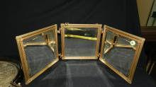 Lovely vintage vanity tri-fold beveled mirror, with celluloid panels of flowers