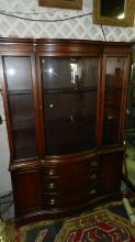 Beautiful, American, mahogany bow front china cabinet, by Bassett Furniture Co. Special shipping required