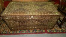 Unique carved & mother of pearl inlaid blanket chest. Special shipping required
