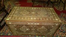 Nice carved & mother of pearl inlaid blanket chest. Special shipping required