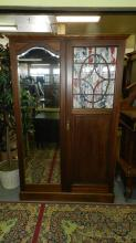8) English 2 door wardrobe with mirror and window. Special shipping required