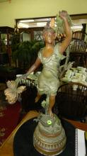 Antique spelter bronze wash Newel post lamp, woman with harp, missing one flower light, no cord, as found