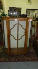 Small Deco curio cabinet, with glass shelves. Special shipping required