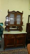 Outstanding, antique, marble top, French sideboard with curio hutch top. Special shipping required