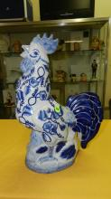 Nice Asian style porcelain blue and white rooster
